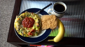 Omelet, Ezekiel Break and Natural PB, Banana, Coffee